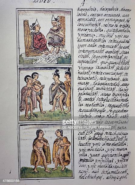 Aztec society Lords and noblemen page from Book IV of the Florentine Codex bilingual version in Spanish and Nahuatl General History of the Things of...