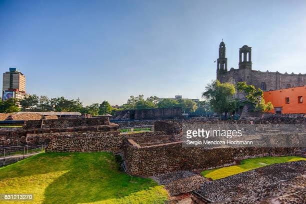 aztec temple ruins in tlatelolco - mexico city, mexico - aztec civilization stock photos and pictures
