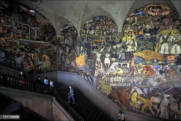 Aztec traces In Mexico city Mexico In January 2000 Diego Rivera fresco at Ministry of Eduction