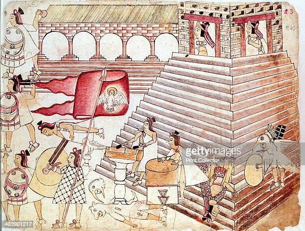 Aztec warriors defending the temple of Tenochtitlan Mexico The Aztec city of Tenochtitlan was founded in 1325 Its main temple was the site of ritual...
