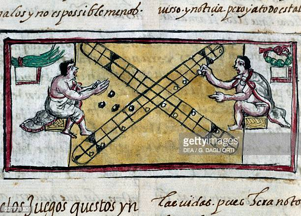 Aztecs playing games miniature from the History of the Indies by Diego Duran manuscript from 1579 Madrid Biblioteca Nacional