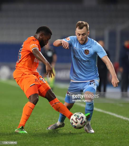 Azubuike Okechukwu of Medipol Basaksehir in action against Alexandru Iulian Maxim of Gaziantep FK during the Turkish Super Lig soccer match between...