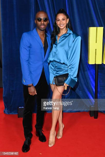 """Azuka Ononye and Alesha Dixon attend """"The Harder They Fall"""" World Premiere during the 65th BFI London Film Festival at The Royal Festival Hall on..."""
