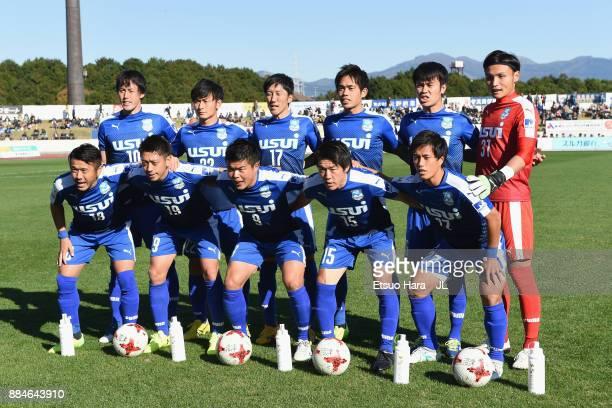 Azul Claro Numazu players line up for the team photos prior to the JLeague J3 match between Azul Claro Numazu and Tochigi SC at Ashitaka Stadium on...