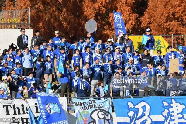 Azul Claro Numazu supporters cheer prior to the JLeague J3 match between Azul Claro Numazu and Tochigi SC at Ashitaka Stadium on December 3 2017 in...