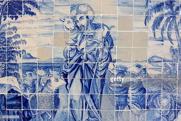 Azulejo in Bonfim church Jesus the good shepherd