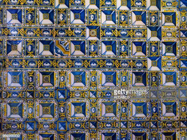 Azulejo in the Convent of Christ Convento de Cristo in Tomar It is part of the UNESCO world heritage Europe Southern Europe Portugal April