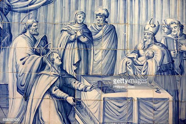 azulejo mosaic in rosario dos pretos church in pelourinho : jesus in the synagogue - circumcision stock pictures, royalty-free photos & images