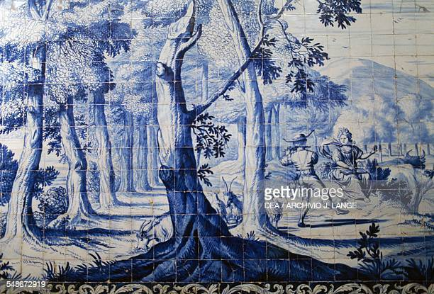 Azulejo tile panel depicting a country scene Madre de Deus Convent home to the Museum of Azulejos Lisbon Historical Province of Extremadura Lisbon...