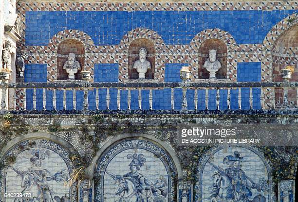 Azulejo tiles decorations Gallery of Kings in the garden of Fronteira palace 17th century Benfica Lisbon Portugal