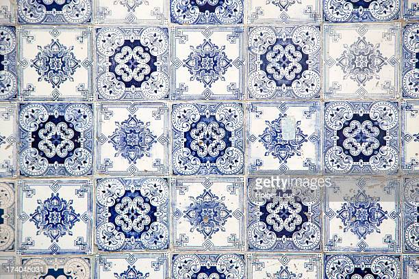 Azulejo tiles on building in Mouraria district