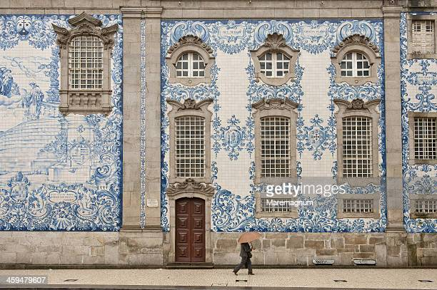 Azulejos decoration on the wall of Carmo church