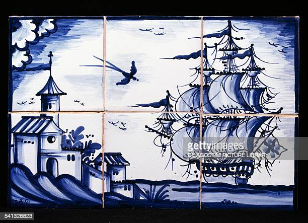 Azulejos depicting a galleon off the Catalonian coast made by Jose Antonio Ortega and El Lledoner 's workshop Spain 20th century