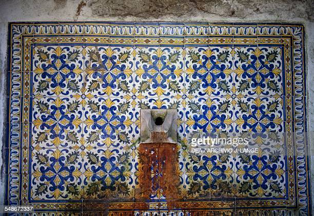 Azulejos tiles decorative detail on the Fountain of Mata Alva before the restoration in 2009 near Sintra Historical Province of Extremadura Lisbon...