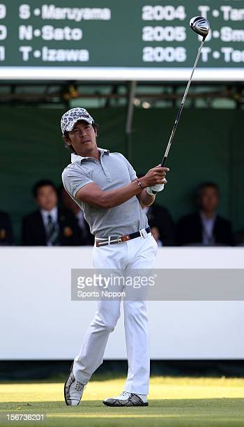 Azuma Yano hits a shot during the final round of the Bridgestone Open 2012 at Sodegaura Country Club on October 21, 2012 in Chiba, Chiba, Japan.