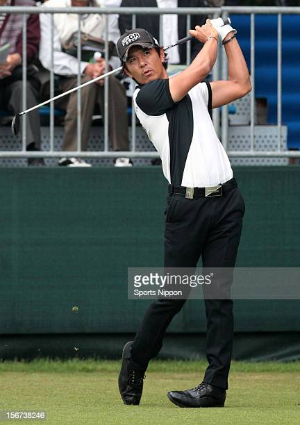 Azuma Yano hits a shot during the first round of the Bridgestone Open 2012 at Sodegaura Country Club on October 18, 2012 in Chiba, Chiba, Japan.