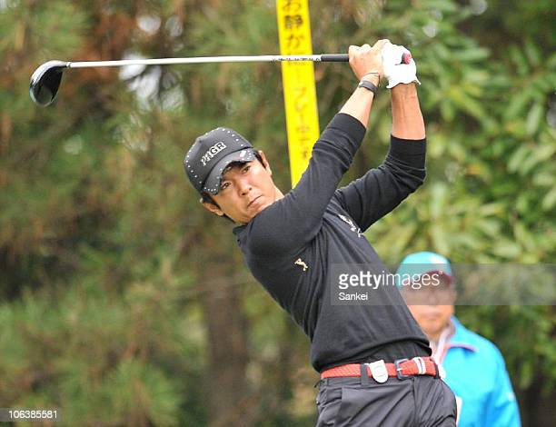 Azuma Yano hits a tee shot on the 18th hole during the third round of the Mynavi ABC Championship at the ABC Golf Club on October 30, 2010 in Kato,...