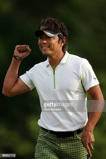 Azuma Yano of Japan celebrates a birdie putt on the 14th green during the continuation of the second round of the 109th U.S. Open on the Black Course...