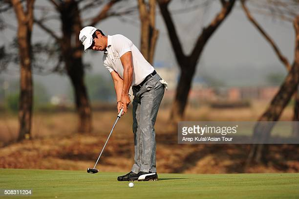 Azuma Yano of Japan competes during round one of the Leopalace21 Myanmar Open at Royal Mingalardon Golf and Country Club on February 4, 2016 in...