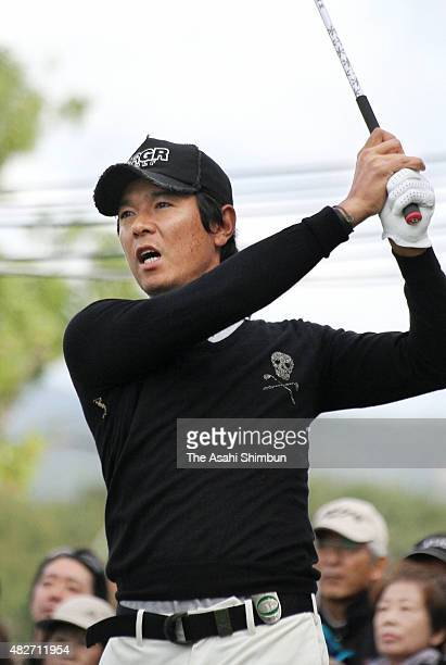 Azuma Yano of Japan hits a tee shot during the secpnd round of the Mynavi ABC Championship at ABC Golf Club on October 29, 2010 in Kato, Hyogo, Japan.
