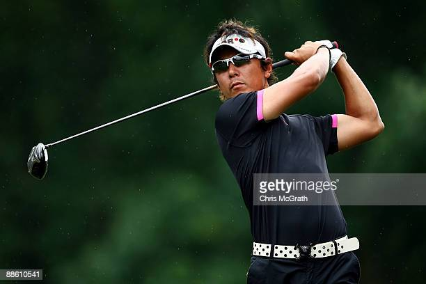 Azuma Yano of Japan hits a tee shot on the tenth hole during the continuation of the third round of the 109th U.S. Open on the Black Course at...