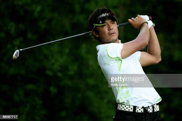 Azuma Yano of Japan hits his tee shot on the 11th hole during the second round of the 109th U.S. Open on the Black Course at Bethpage State Park on...