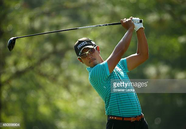 Azuma Yano of Japan hits his tee shot on the fifth hole during the second round of the 114th U.S. Open at Pinehurst Resort & Country Club, Course No....