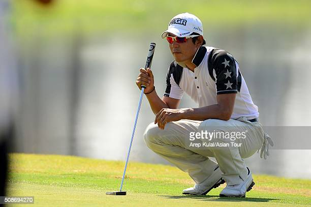 Azuma Yano of Japan pictured during round three of the Leopalace21 Myanmar Open at Royal Mingalardon Golf and Country Club on February 6, 2016 in...