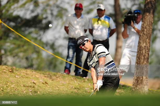 Azuma Yano of Japan pictured during the final round of the Leopalace21 Myanmar Open at Royal Mingalardon Golf and Country Club on February 7, 2016 in...