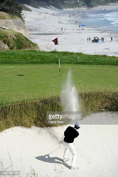 Azuma Yano of Japan plays a bunker shot on the ninth hole during the first round of the 110th U.S. Open at Pebble Beach Golf Links on June 17, 2010...