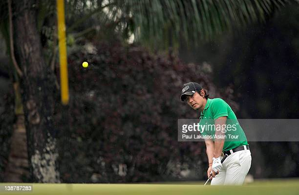 Azuma Yano of Japan plays a shot during round four of the ICTSI Philippine Open at Wack Wack Golf and Country Club on February 12, 2012 in Manila,...