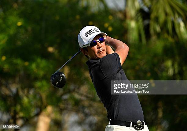 Azuma Yano of Japan plays a shot during round four of the Leopalace21 Myanmar Open at Pun Hlaing Golf Club on January 29, 2017 in Yangon, Myanmar.