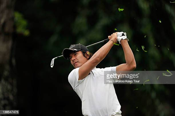 Azuma Yano of Japan plays a shot during round one of the ICTSI Philippine Open at Wack Wack Golf and Country Club on February 9, 2012 in Manila,...