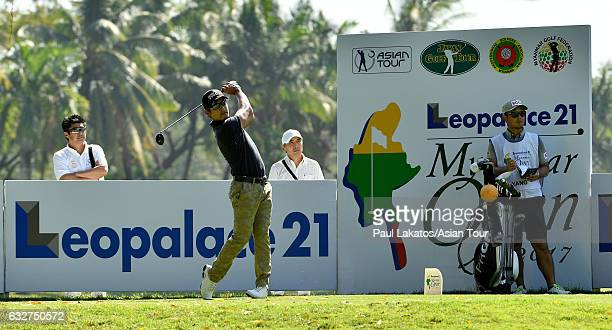 Azuma Yano of Japan plays a shot during round One of the Leopalace21 Myanmar Open at Pun Hlaing Golf Club on January 26, 2017 in Yangon, Myanmar.
