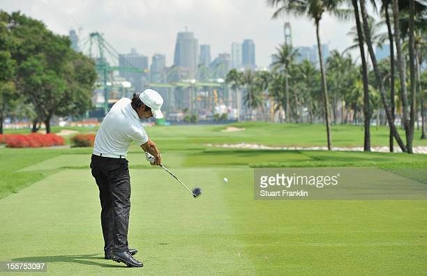 Azuma Yano of Japan plays a shot during the first round of the Barclays Singapore Open at the Sentosa Golf Club on November 8, 2012 in Singapore.