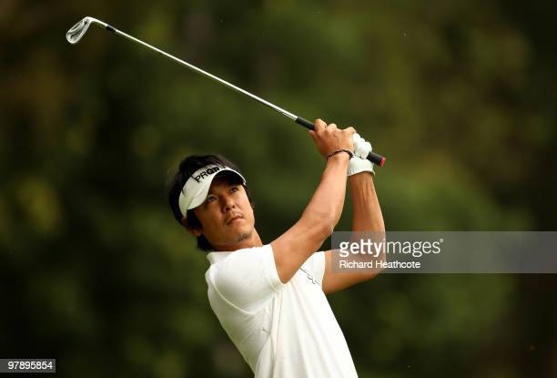 Azuma Yano of Japan plays into the 1st green during the third round of the Hassan II Golf Trophy at Royal Golf Dar Es Salam on March 20, 2010 in...