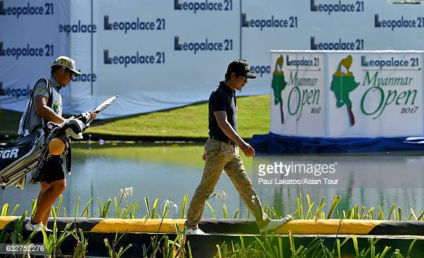 Azuma Yano of Japan walks during round One of the Leopalace21 Myanmar Open at Pun Hlaing Golf Club on January 26, 2017 in Yangon, Myanmar.