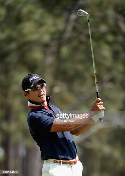 Azuma Yano of Japan watches a shot on the 15th tee during the first round of the 114th U.S. Open at Pinehurst Resort & Country Club, Course No. 2 on...
