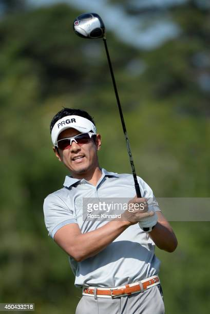 Azuma Yano of Japan watches his tee shot during a practice round prior to the start of the 114th U.S. Open at Pinehurst Resort & Country Club, Course...