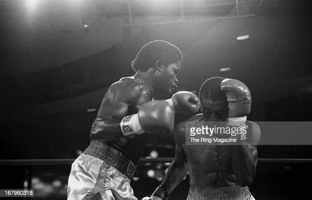 Azumah Nelson lands a left jab against Irving Mitchell during the bout at the Great Gorge Resort on October 31 1982 in McAfee New Jersey Azumah...