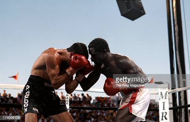 Azumah Nelson lands a punch against Jeff Fenech during the fight at the Mirage Hotel Casino in Las Vegas Nevada The WBC super featherweight title...