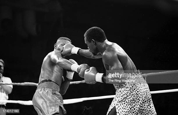 Azumah Nelson lands a punch against Pernell Whitaker during the fight at Caesars Palace in Las Vegas Nevada Pernell Whitaker won the WBC lightweight...