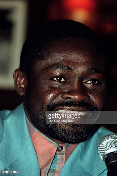 Azumah Nelson looks on during a press conference