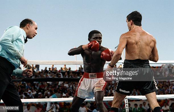 Azumah Nelson looks to land a punch against Jeff Fenech at the Mirage Hotel Casino in Las Vegas Nevada The WBC super featherweight title fights ended...
