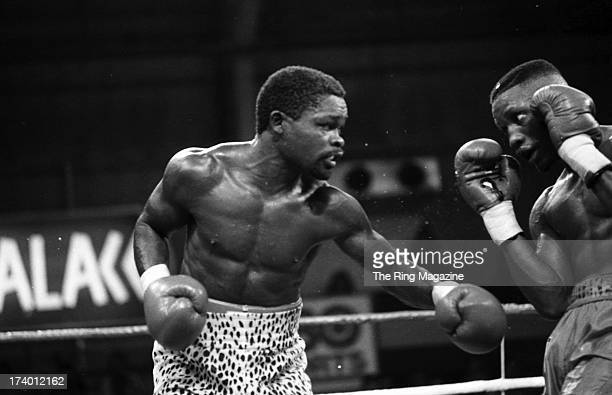 Azumah Nelson throws a punch against Pernell Whitaker during the fight at Caesars Palace in Las Vegas Nevada Pernell Whitaker won the WBC lightweight...