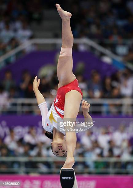 Azumi Ishikura of Japan competes in the Women's Apparatus Final during the 2014 Asian Games at Namdong Gymnasium on September 25 2014 in Incheon...