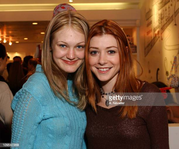 Azura Skye and Alyson Hannigan during Lucky Magazine and Lulu Guinness Host Holiday Party at the Lulu Guinness Boutique in Los Angeles at The Lulu...