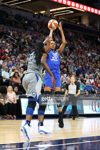 Azura Stevens of the Dallas Wings shoots the ball against the Minnesota Lynx on June 19 2018 at Target Center in Minneapolis Minnesota NOTE TO USER...