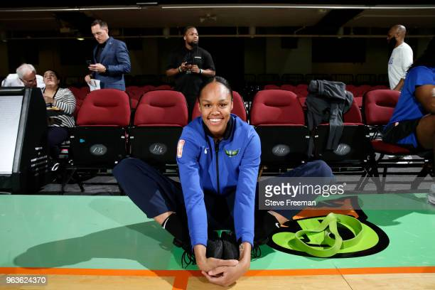 Azura Stevens of the Dallas Wings stretches before the game against the New York Liberty on May 29 2018 at Westchester County Center in White Plains...