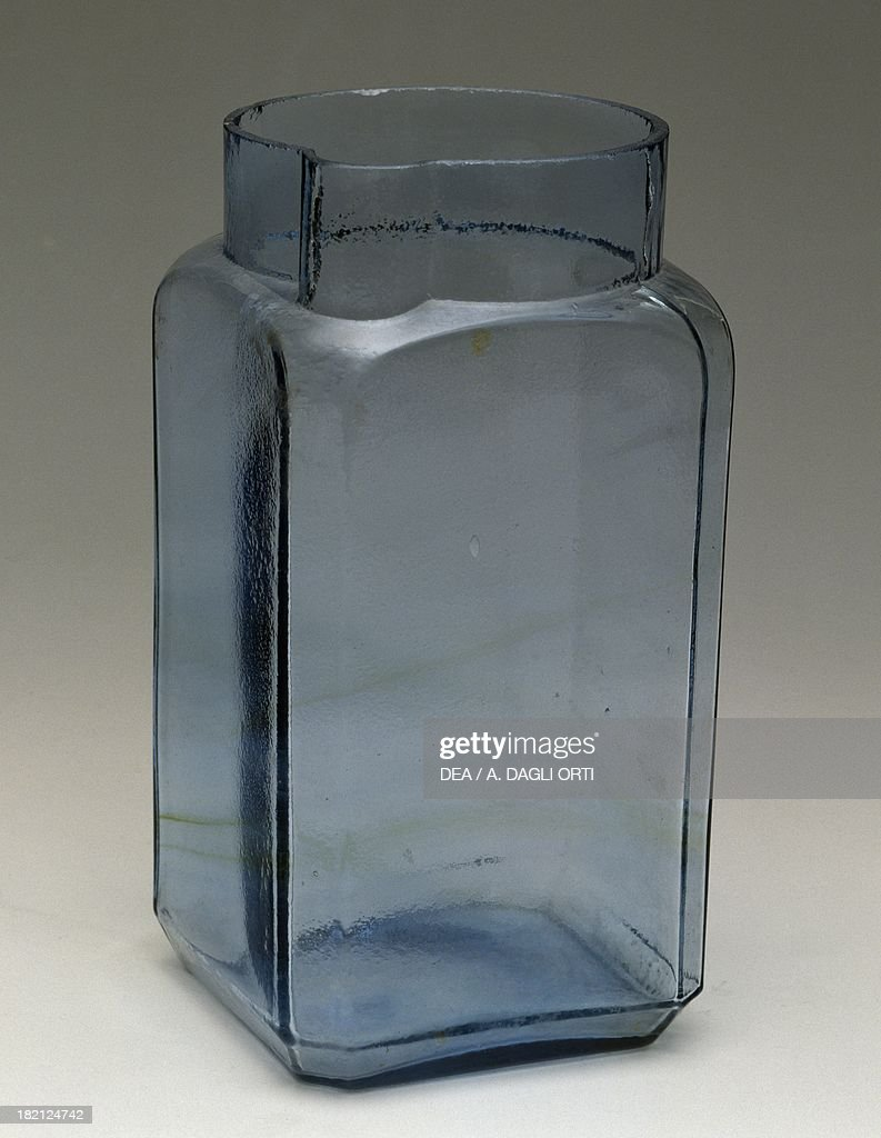 Azure glass vase with a square base and a spout, 1930-1939, Italy, 20th century.